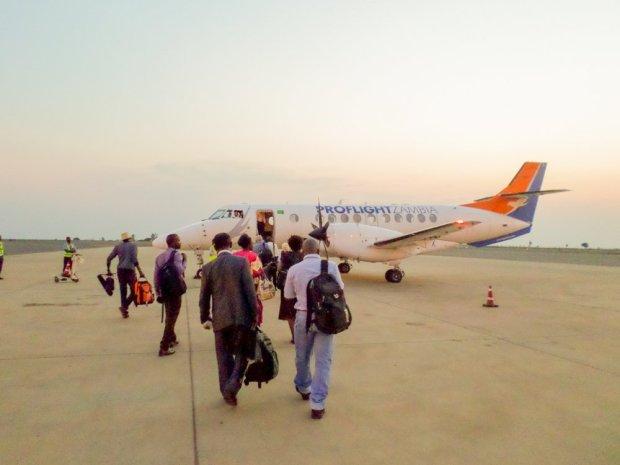 Passengers board a Proflight Zambia flight in Lilongwe, Malawi.