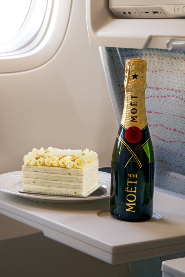 Cake and champagne packages are also available for USD 43 in Economy Class for those wanting to celebrate with their loved ones on board.